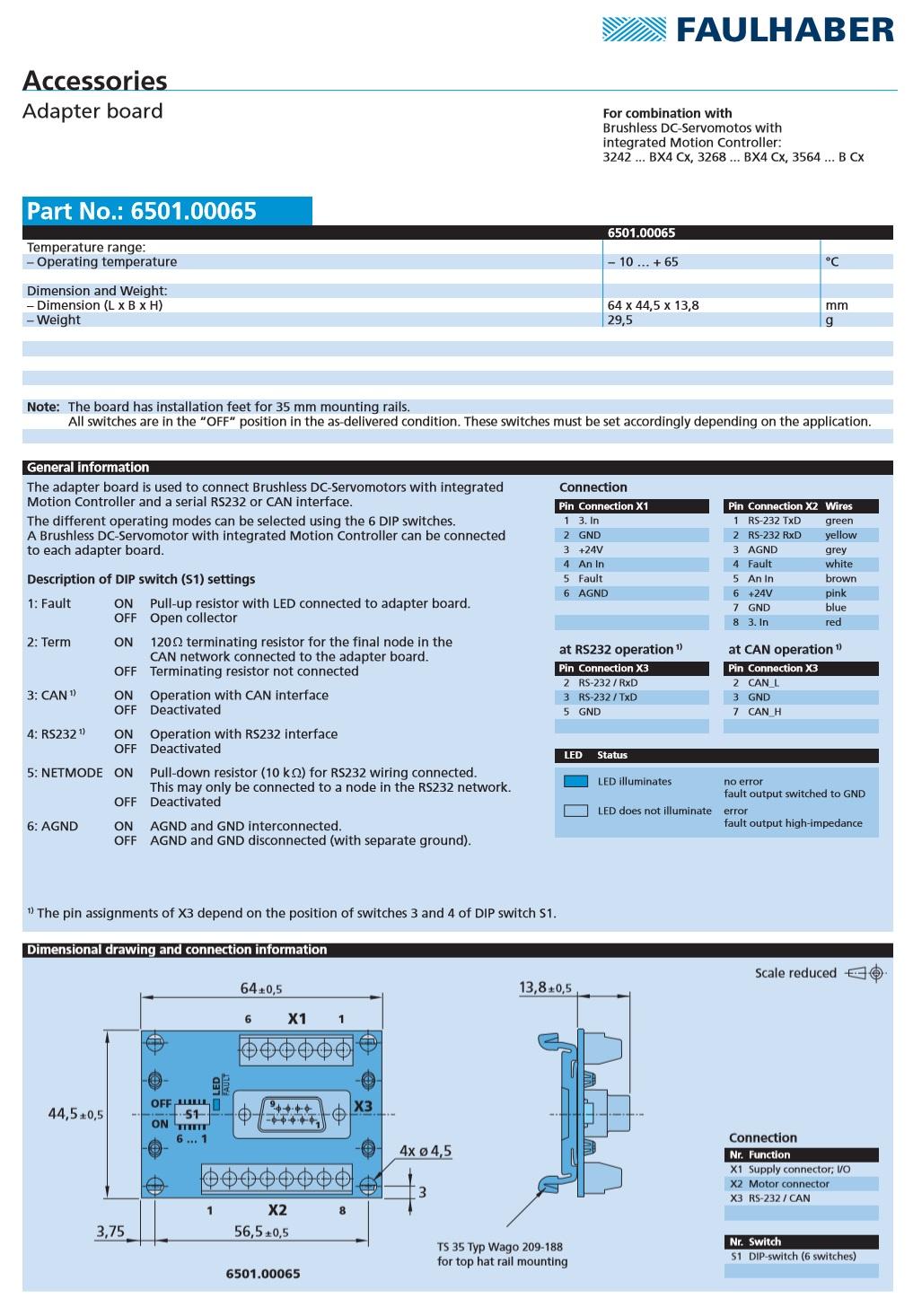 Faulhaber Adaptor Board 6501 00065 Series