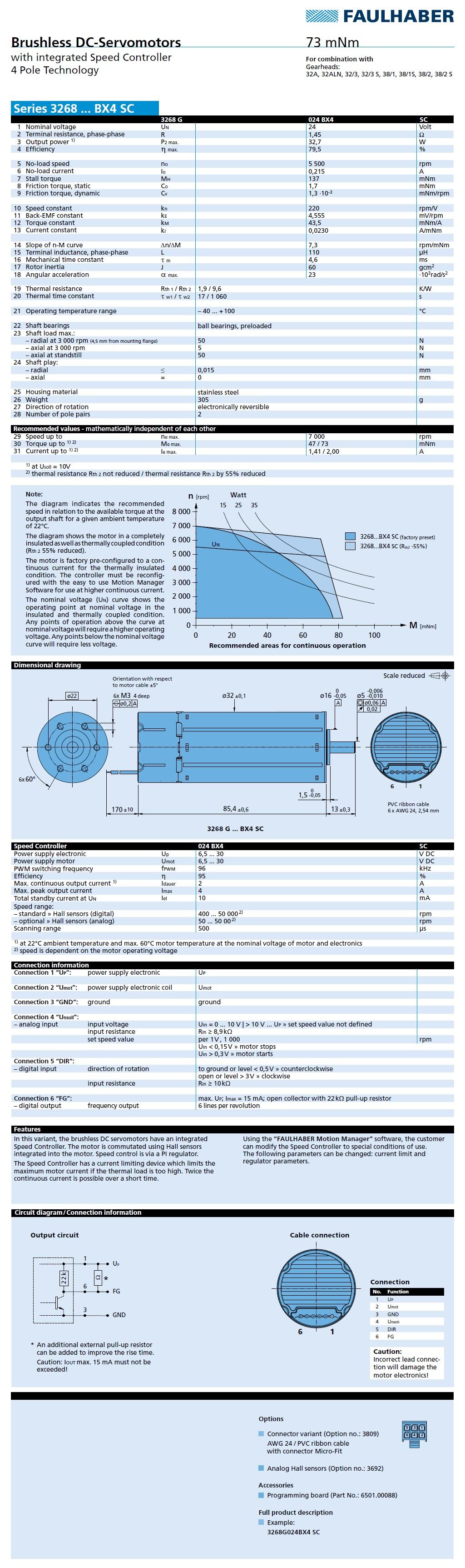 Faulhaber: Brushless DC-Servomotors (3268...BX4 SC Series)