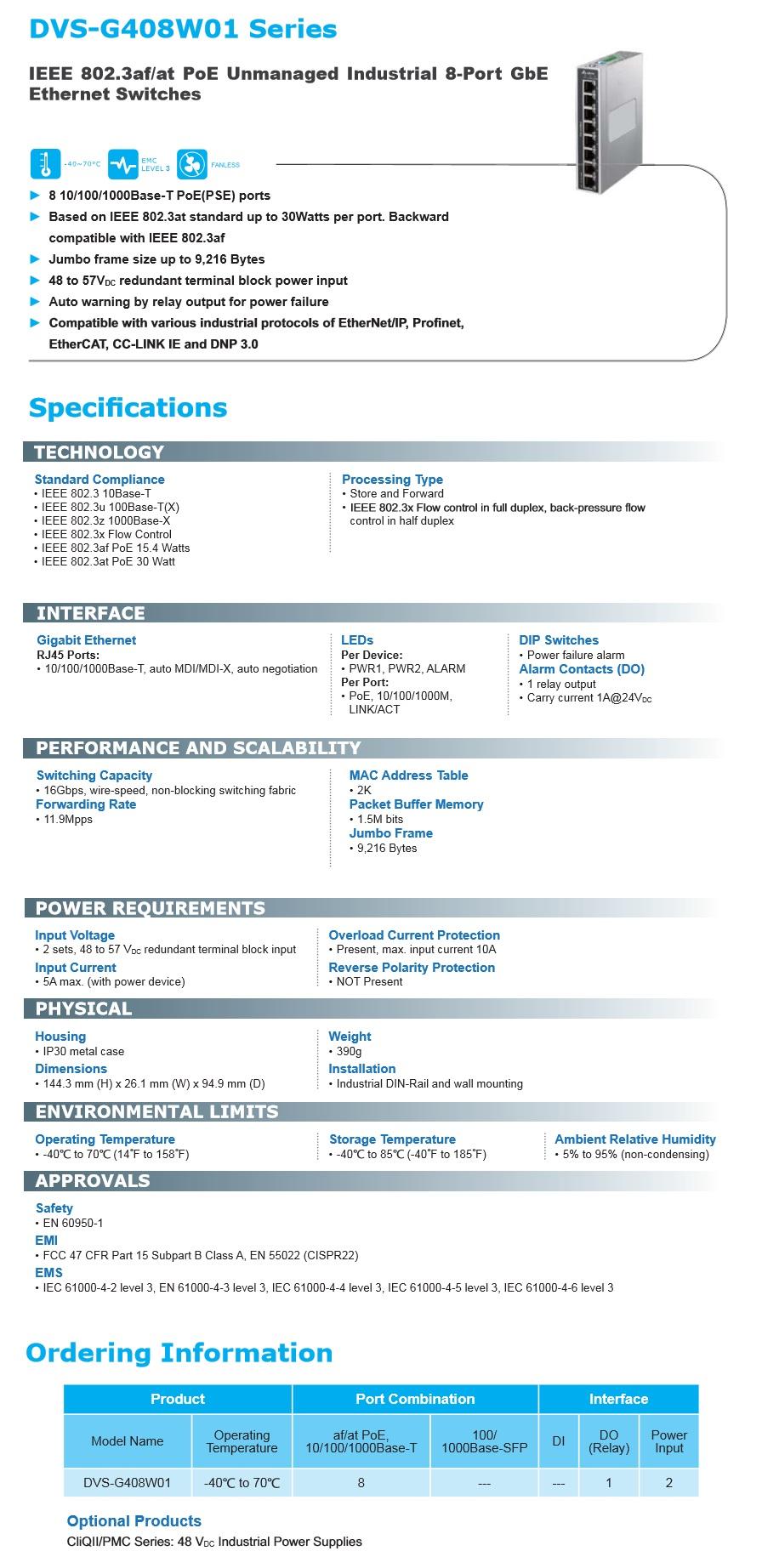Delta: Industrial Ethernet Solution (DVS-G408W01 Series)