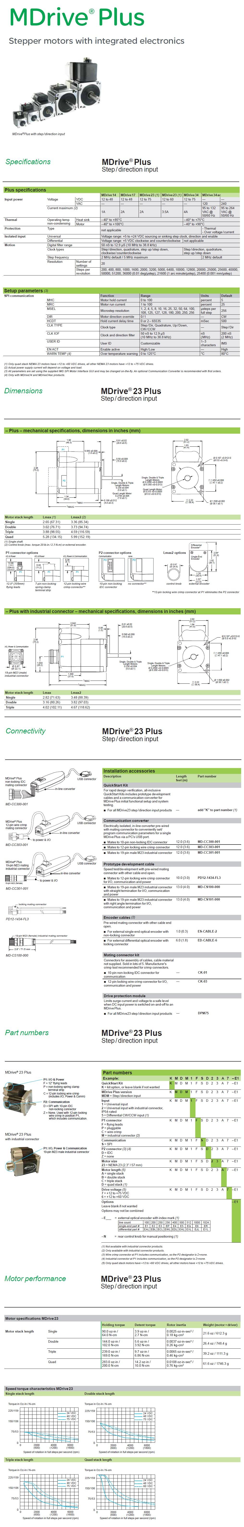 Schneider Electric: MDrive® Plus Step/Direction Input (NEMA 23)