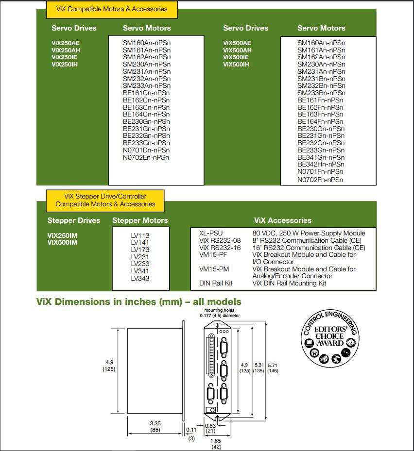Parker servo stepper drive vix500ae series for Parker bayside frameless torque motors